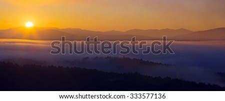 Mountains landscape of Galicia  in summer dawn