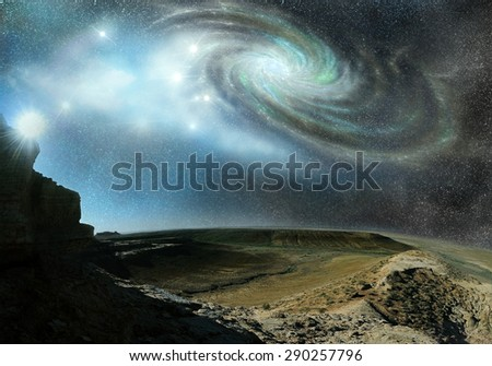 mountains landscape on the background of cosmos space and galaxy