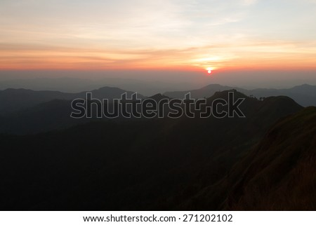 mountains landscape,The light of the morning sunset - stock photo