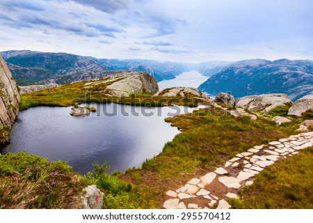 Mountains near the Preachers Pulpit Rock in fjord Lysefjord - Norway - nature and travel background - stock photo
