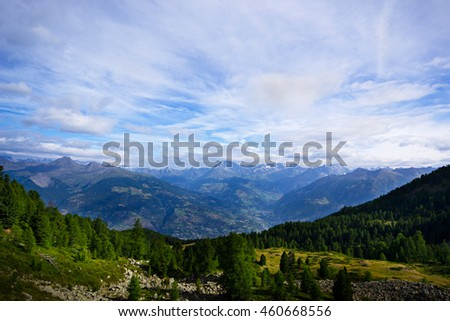 Mountains of Aosta valley Alps Italy. Sunny beautiful summer day - stock photo