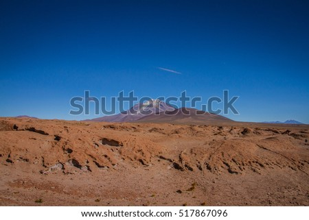 Mountains of Bolivia, altiplano, desert and green landscapes, trees and rocks, sand and water, sky and earth. Beautiful views of South America