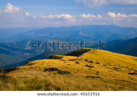 Mountains of Carpathians in the evening