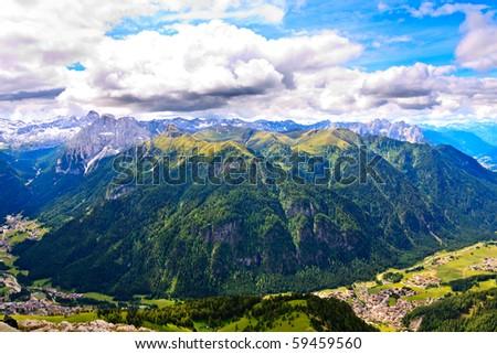 Mountains of Marmolada group in Dolomites. - stock photo