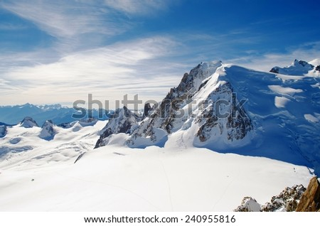 Mountains of Mont Blanc, Chamonix France  - stock photo