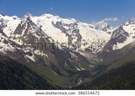 Mountains of the Great Caucasian ridge.Dombay.Russia.