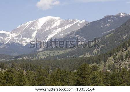 Mountains overlooking Estes Park, Colorado - stock photo