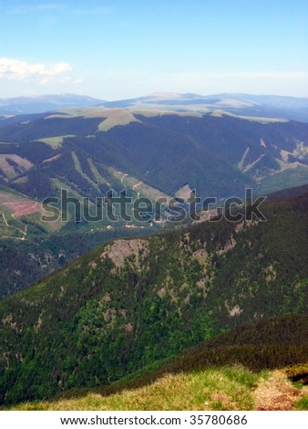 mountains panorama landscape forests sky blue  clouds