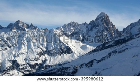 Mountains panorama Mont Blanc and Chamonix view. France. - stock photo
