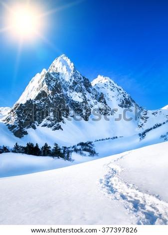 Mountains peak. - stock photo