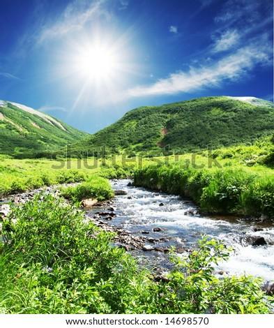 mountains river - stock photo