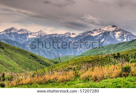 Mountains Scene, near Park-City Utah - stock photo