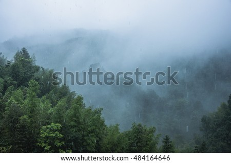 Mountains scenery in the mist