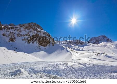 Mountains ski resort Innsbruck Austria - nature and sport background - stock photo