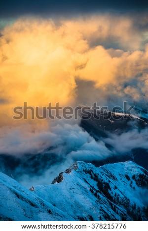 Mountains ski resort Kaprun Austria - nature and sport background. - stock photo