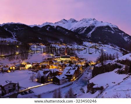 Mountains ski resort Solden Austria - nature and architecture background - stock photo
