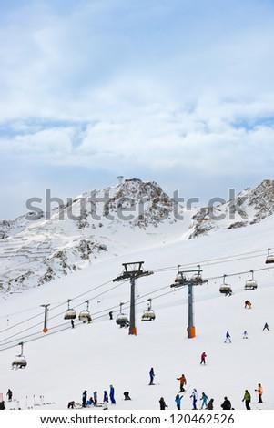 Mountains ski resort Solden Austria - nature and sport background - stock photo