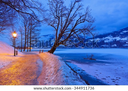 Mountains ski resort Zell am See Austria - nature and architecture background - stock photo