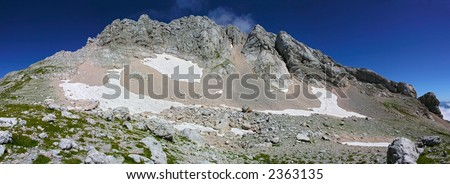 mountains, snow and sky - stock photo