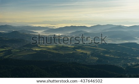 Mountains sunrise - stock photo