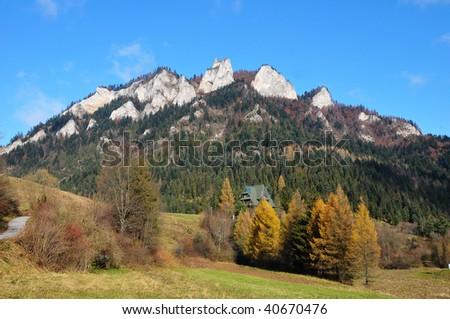 Mountains Three Crowns ( Trzy Korony ) to Polish Pieniny - stock photo
