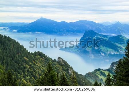 Mountains view from Mt. Pilatus, Lake Luzern, Switzerland. - stock photo