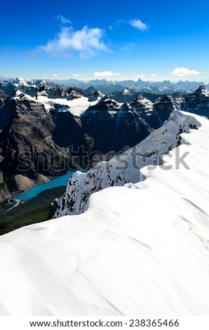 Mountains view from Mt Temple with Moraine lake, Banff, Rocky Mountains, Alberta, Canada - stock photo