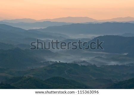 Mountains with fog in the early morning