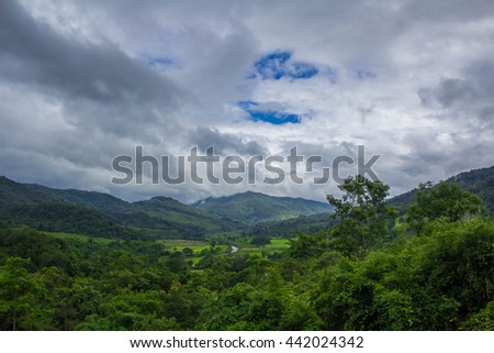 Mountains with forest and blue sky with clouds - stock photo