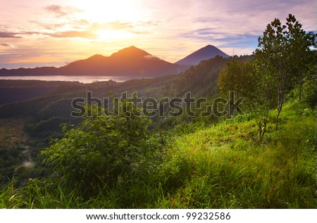 Mountains with lake and green lush meadow with tree on a hill side at rising sun lighting - stock photo