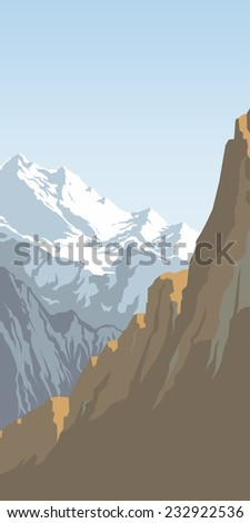 Mountains with snow against the blue sky - stock photo