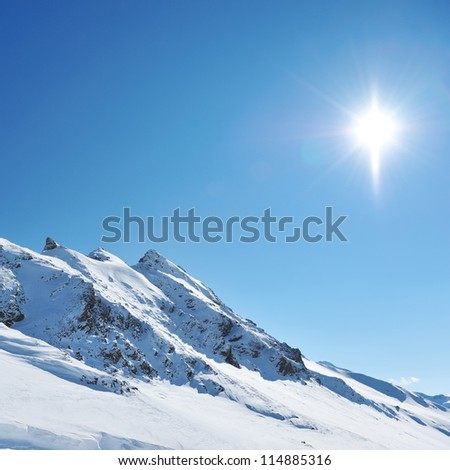Mountains with snow in winter, Val-d'Isere, Alps, France - stock photo