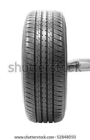 Mounted car tyre over white background