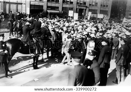 Mounted police forcing their horses to disperse the great horde of socialists at Union Square. They were attending a mass meeting held to protest the death sentences of Nicola Sacco and Bartolomeo Van - stock photo