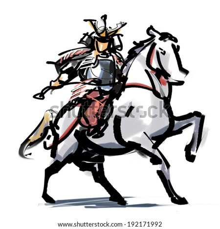 Mounting a horse Musha - stock photo