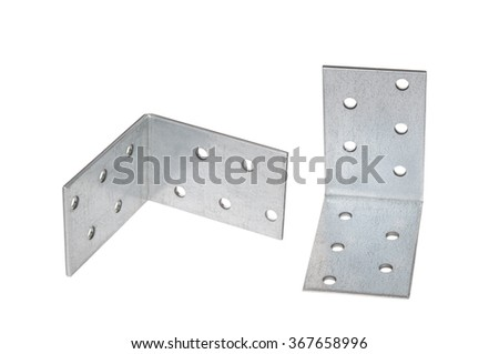 Mounting angle metal brackets isolated on white background