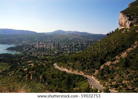 Mounting winding road provence France - stock photo