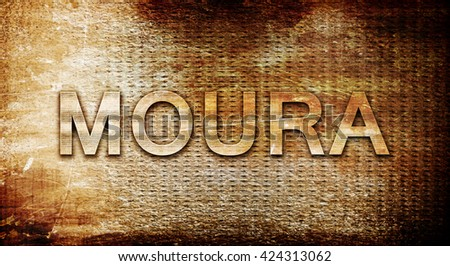 Moura, 3D rendering, text on a metal background
