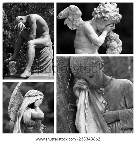mourning collage -group of  images from european monumental cemeteries - stock photo