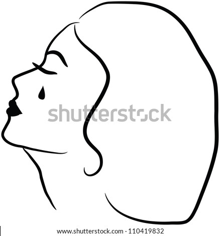 Mourning cry woman - stock photo