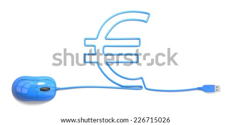 mouse and cables in form of euro on a white background - stock photo