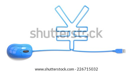 mouse and cables in form of yuan on a white background - stock photo