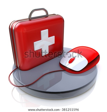 Mouse and First Aid in the design of the information related to the computer and the Internet - stock photo