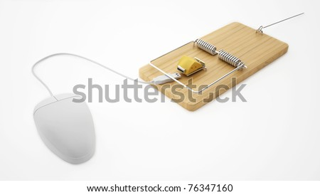 mouse and mouse trap with cheese - isolated on white - stock photo