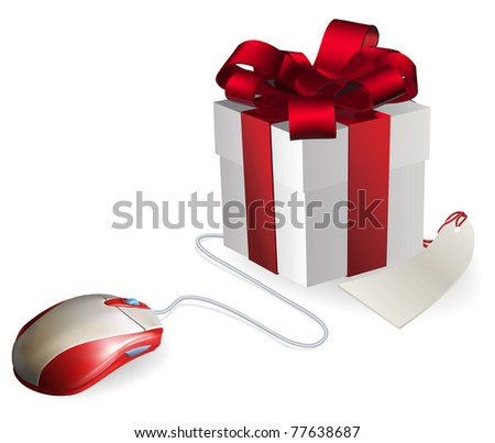 Mouse attached to a gift concept. Buying gifts by online shopping or being given gifts for surfing the web or buying online. - stock photo