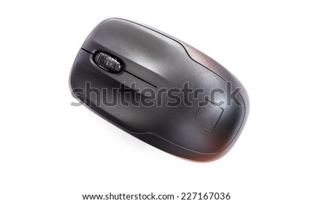 Mouse computer was placed on a white background.
