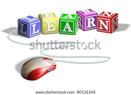 Mouse connected to alphabet letter blocks forming the word learn. Concept for e-learning. - stock photo