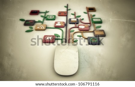mouse connection isolated on white background - stock photo