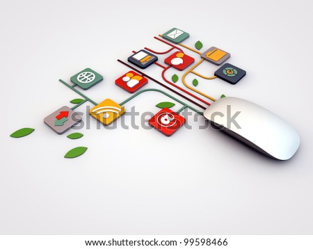 mouse connections - stock photo