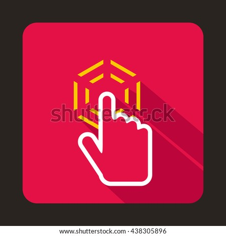 Mouse cursor hand icon, flat style - stock photo